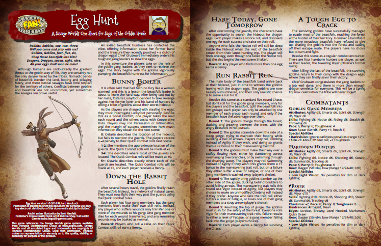 two-page spread of Egg Hunt one-sheet adventure